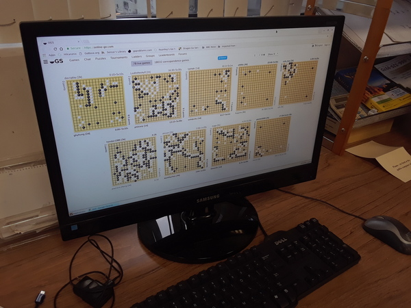 Computer monitor displays game of Go / Baduk / Weiqi